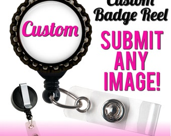 Custom Badge Reel - You Choose The Design - Black Retractable ID Holder