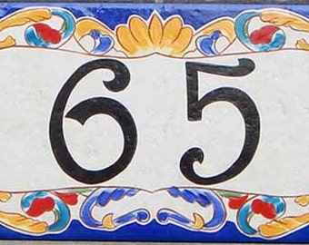 Cobalt blue house numbers, house number plaque, house sign, hand painted Italian house numbers, ceramic house numbers, address door sign