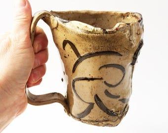 XL Fabulous Funky Coffee Mug, Wonky, 20 oz, Asymmetrical, Stoneware, Rustic Cup, Hobbit, Primitive
