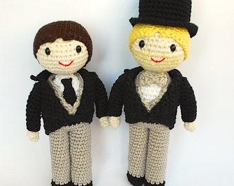 Novios de amigurumi para pastel de bodas. Novios de ganchillo personalizados Pareja de amigurumi Regalo boda Decoración boda (MUÑECO TEJIDO)