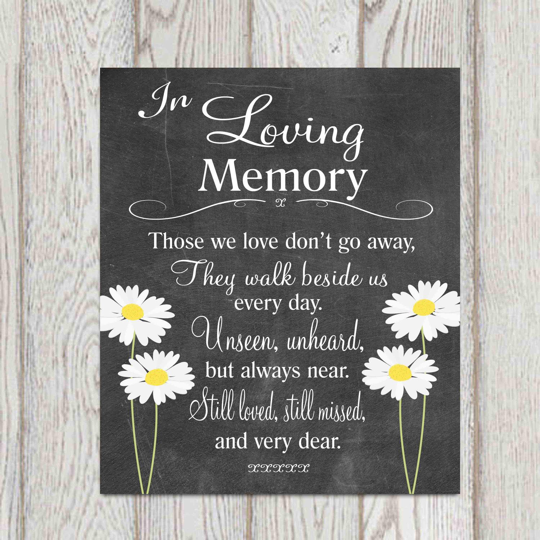 In Loving Memory Quotes Memorial Table In Loving Memory Printable Wedding Memorial