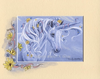 HAND PAINTED MAT; unicorn print, fantasy, flowers, daydream, wall art, original print, 8 x 10 inch mat