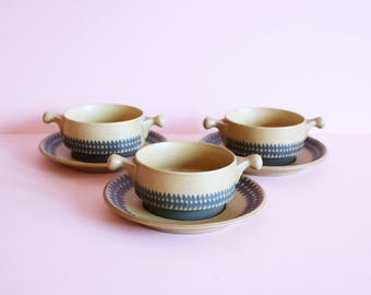 Set Of 3 Vintage Goebel Provence Soup Bowls With Matching Plates - West German