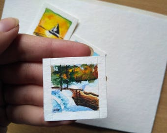 Tiny original watercolor painting, forest winter, original miniature painting, landscape aquarelle, mini art cute river in forest tiny gift