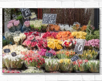 Paris Photograph on Canvas - Rue Cler Market Flowers, Gallery Wrapped Canvas, Colorful French Kitchen Decor, Large Wall Art
