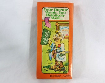 VTG Boxed Humorous Greeting Cards Somethin Funny Comic Cards Birthday Get Well Assorted