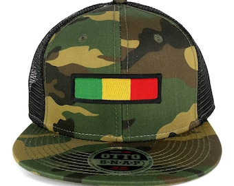 Rasta Green Yellow Red Embroidered Iron on Patch Camo Flat Bill Snapback Mesh Cap (153-1120-AFRICA-29)