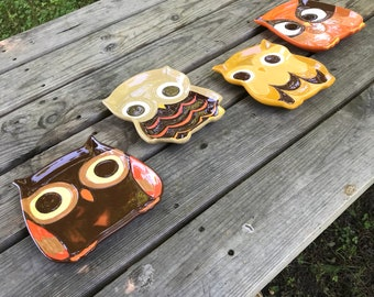 Four Cute Owl Plates