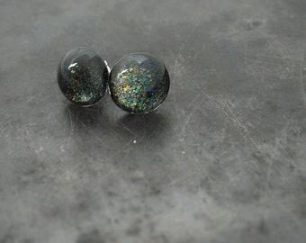 Dark cosmic glitter earrings ~ stud earrings ~ everyday earrings ~ sparkly earrings ~ glass earrings ~ post earrings ~ glass stud earrings