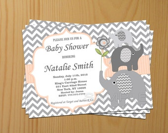 Editable Baby Shower Invitation Elephant Baby Shower Invitation Neutral Baby Shower Invites Peach (37a) FREE Thank You Card Instant Download