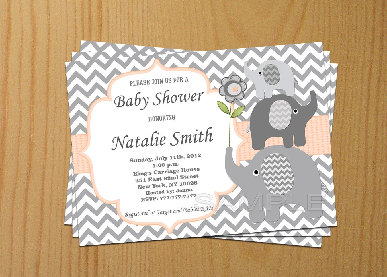 Editable Baby Shower Invitation Elephant Baby Shower
