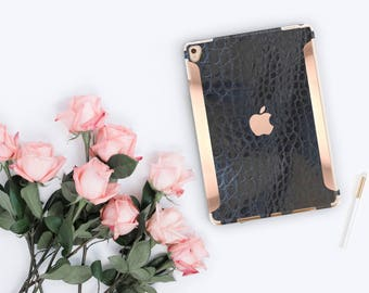 "iPad Case . iPad Pro 10.5 . Black Mica Alligator Leather and Rose Gold for the   iPad 9.7"" Smart Keyboard Compatible Hard Case"