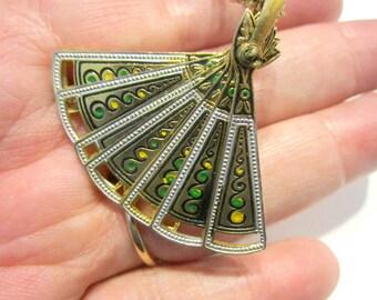 Vintage Spain Damascene Fan Brooch Pendant Necklace Gift for Her Gift for Mom Gift for Her Under 25