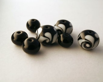 Twisted Sister Two - 3 x black and white twist Lampwork Glass Beads, 4 x Spacers