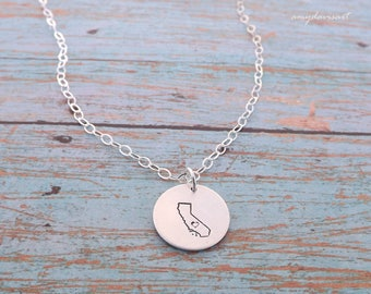 State Necklace with Heart, Sterling Silver Jewelry, US State of Choice, California Necklace, Going Away Gift, State Gift, Pendant Necklace