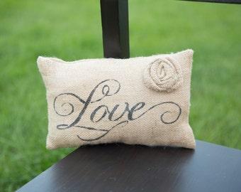 Love Decorative Pillow Decor Pillow Simple Pillow burlap pillow 14x9 accent pillow