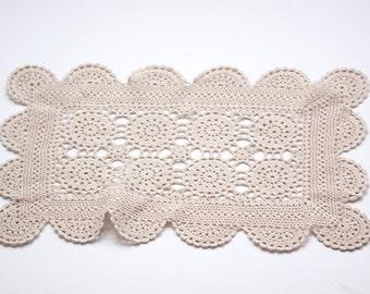 Vintage Ecru Rectangle Crocheted Doily