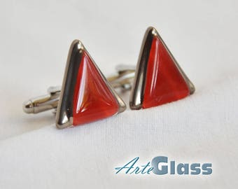 Cufflinks handmade painted red decorated with platinum, triangle