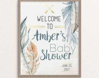 Baby Shower Welcome  Sign, Boho, Custom, Printable, Bohemian, Rustic, Baby Shower Sign, Baby Shower Decor, Baby Boy Shower Decoration
