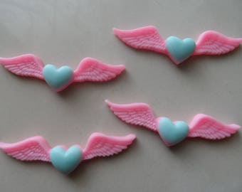 set of 4 cabochons Angel Wings 52 x 15 mm pink and blue