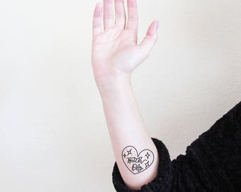 Bitch Plz Temporary Tattoo, Heart Tattoo, Bitch Plz Fake Tattoo, Gifts Under 5, Gifts for Her, Novelty Gift, Heart Tattoo