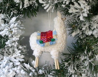Stuffed Puffy Peruvian Llama Ornament with Fringed Blanket