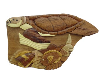 Sea Turtlre with Fish Puzzle Box / Jewelry / Cash / Gift Card Holder Hand Carved Natural Wood No Paints or Stains
