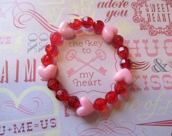Valentine Heart Beaded Bracelet-Valentine Bracelet-Heart Bracelet-Valentine Gifts-Gifts for Her-Gifts for Girls-Girls Bracelets