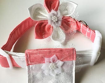 Satin Coral Pink & White Wedding Flower Collar for Female Dogs and Cats