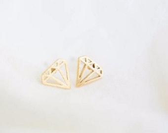 Diamond / Outline / Geometric / Studs / Earrings / Gold / Hipster / Trendy / Everyday / Simple / Dainty / Minimalist / Petite