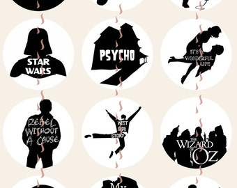 Movie Magnets Pins, Silhouette Movie Pins, Classic Movie Pins Magnets, Party Favors, Fridge Magnets, Gift Sets