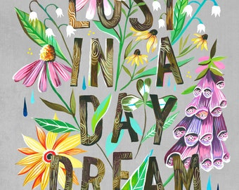 Lost in A Daydream | Wildflower Art Print | Floral Wall Art | Katie Daisy | 8x10 | 11x14