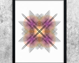 Abstract Printable Art, Pink & Orange Modern Art, Geometric Art Print, Minimalist Wall Art, Digital Print, Instant Download, Home Decor