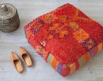 POUF SALE!  Moroccan Square Boujad Pouf Ottoman or Floor Pillow Red-Orange Purple Stripe Sides