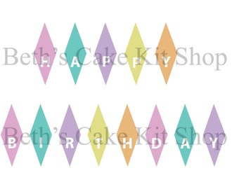 Happy Birthday Bunting Cake Topper DIY Printable Instant Download Girl Pastel Colors