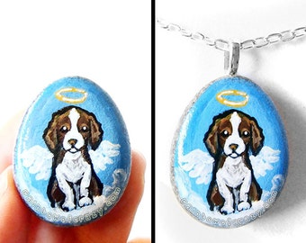 Springer Spaniel Dog Necklace, Cocker Spaniel Art Pendant, Hand Painted Rock, Angel Jewelry, Memorial Painting, Pet Loss, Dog Lover Gift