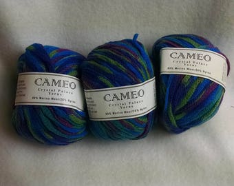Crystal Palace Cameo Yarn multi blues color 9909 lot 10
