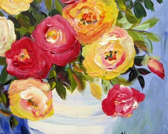 Fiesta Roses Still life 11 x 1 4 Art by Elaine cory