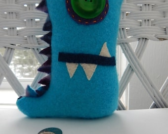 Recycled Cashmere Monster Tooth Fairy Pillow - Turquoise