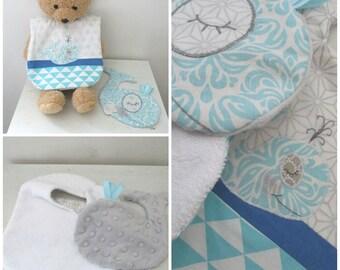 Bib + Dousou flat baby boy whale personalized 0-12 months