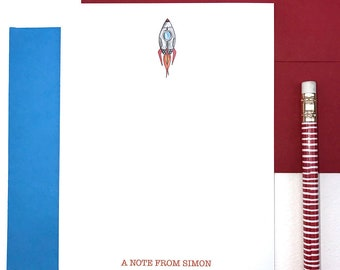 Personalized Stationery for Boys, Rocket Ship Stationery, Boys Stationary Personalized