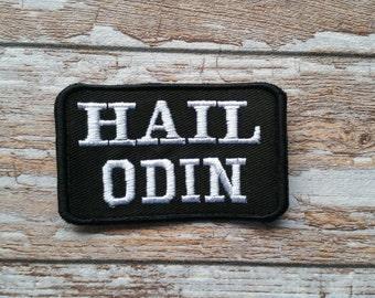 Hail Odin Embroidered Heathen Patch Viking Biker Norse Pagan Asatru Odinist Nordic Aesir