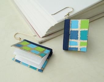 Mini Book Earrings- City Blocks in Turquoise Book Earrings