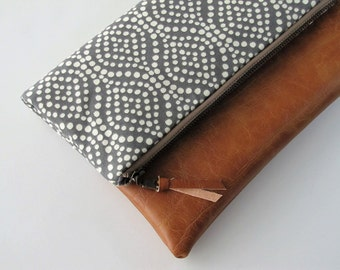 Foldover Clutch, Vegan Leather Clutch Bag, Modern Grey Clutch Purse, Ipad Kindle Case, Winter, Fall Clutch, Bridesmaid Gift, Gift for Her