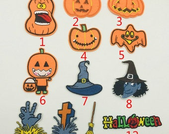 2pcs Accessory Fabric Holloween Pumpkin Embroidery Costume Patches,Clothes Patch Supply,Sew On,Iron On Patch,Applique For Backpack,Biker