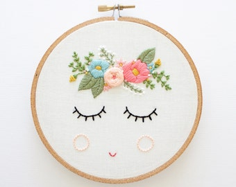 POSY, PDF Embroidery Pattern, Digital Download, Floral Embroidery Pattern, Sleepy Face