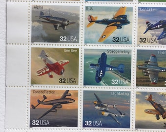 10 Classic American Aircraft 32c US postage stamps unused - Vintage 1997 - airplane flight aviation