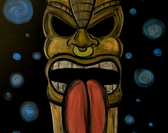Tiki statue done in colored drawing chalk