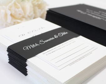 Black and White Script Wedding Invitation Suite, Professionally Printed or Printable DIY Digital Design, Timeless Suite, Free Colour Changes