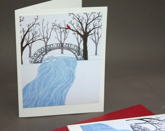 Winter Landscape Note Cards, Snow Cardinal Blue Red Woodland Rustic Tree Swan Stationery Set Stationary Set